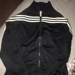 Adidas black 3 striped jacket